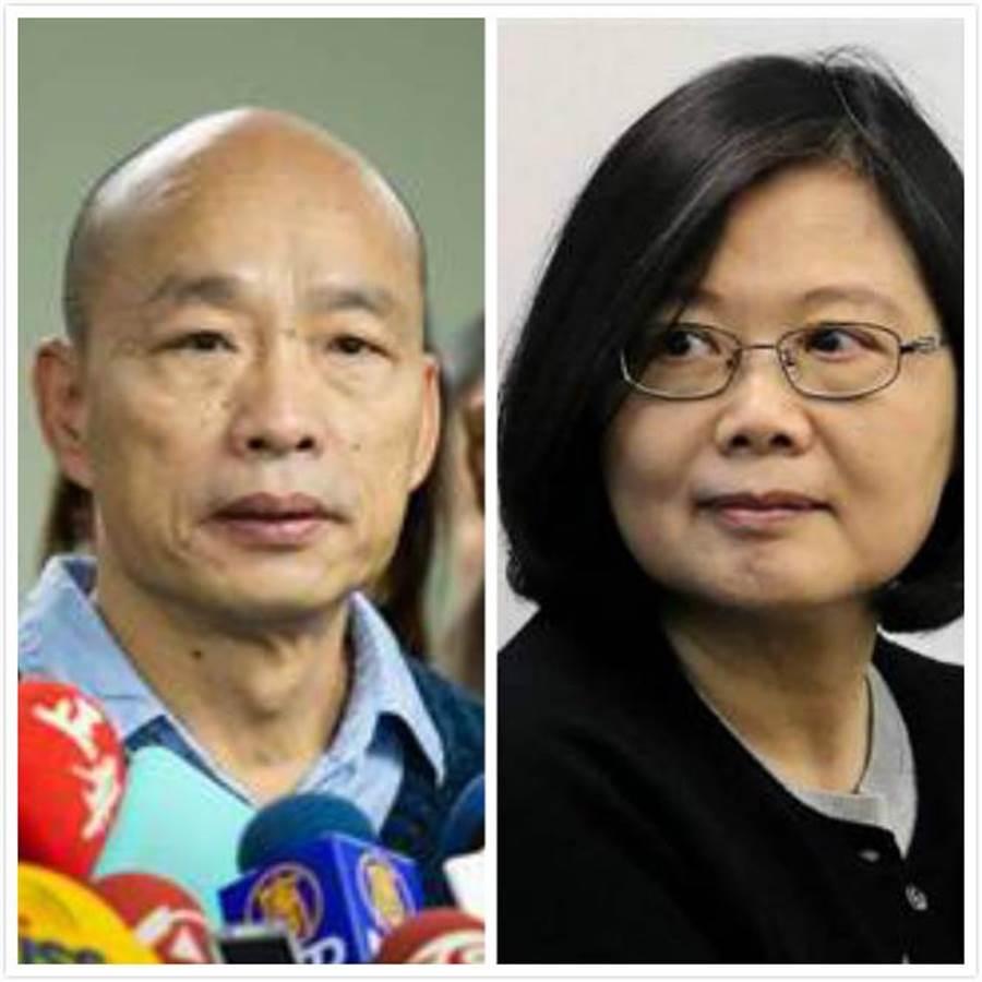 高雄市长韩国瑜(左)、总统蔡英文(右)