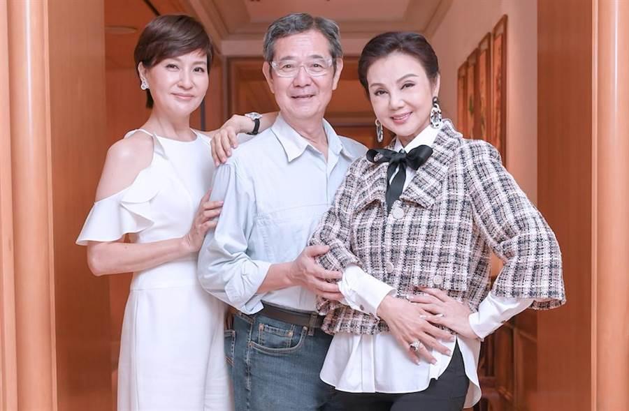 方芳芳(左起)、巴戈、謝玲玲19日晚將在文華東方酒店出席公益晚宴,郭董妻子曾馨瑩也將露面。(盧禕祺攝)