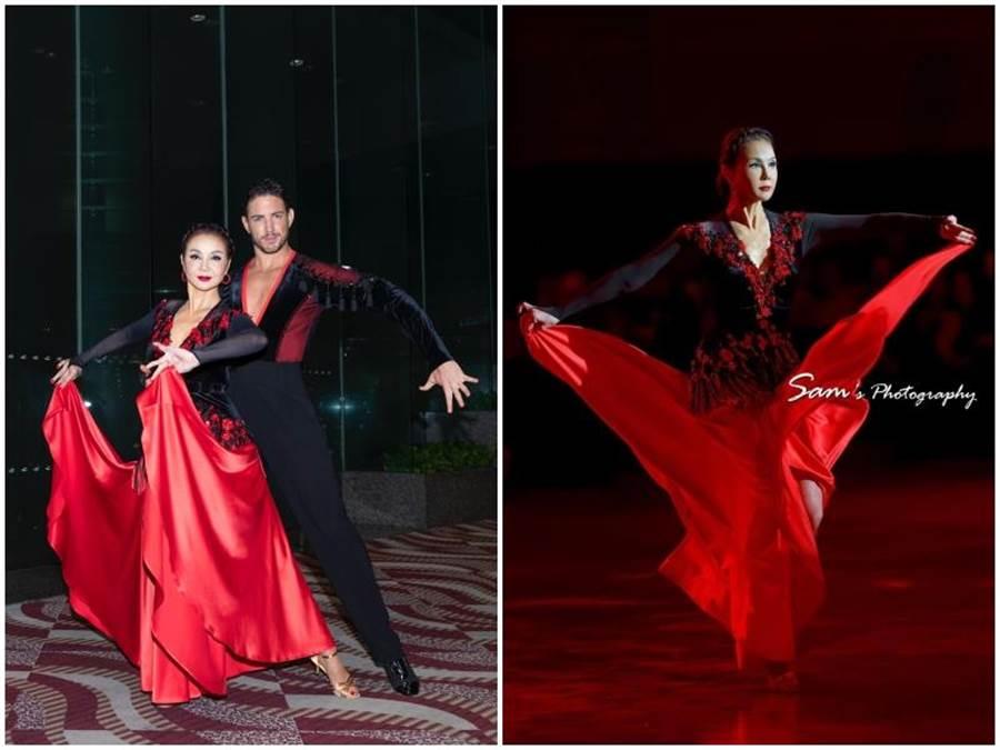 謝玲玲今年六月在香港慈善活動上表演一場精采絕倫的鬥牛舞,展現非凡舞技,男為國標五老師Darren Hammond。謝玲玲提供