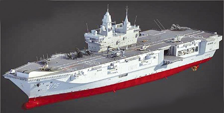 075型兩棲攻擊艦的想像圖。(取自微博)