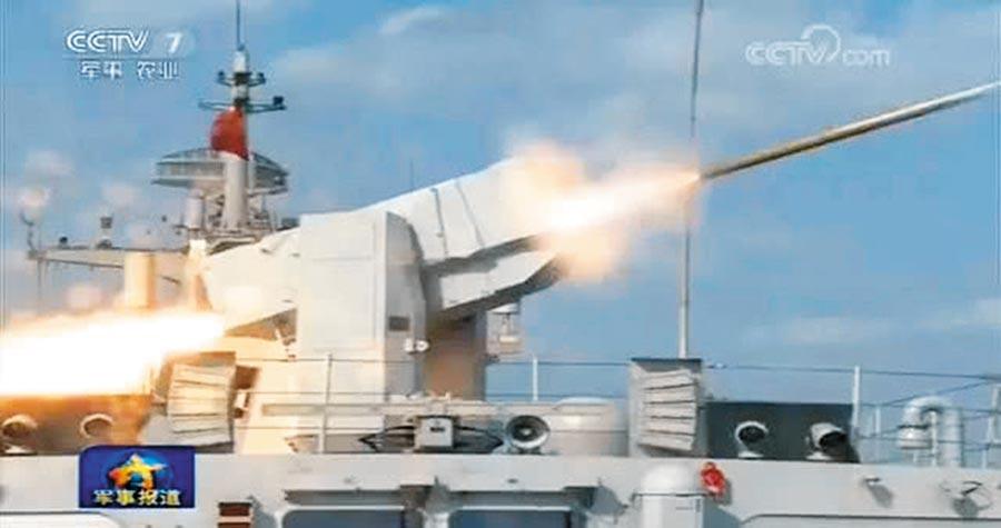 海紅旗-10發射瞬間。(取自央視截圖)