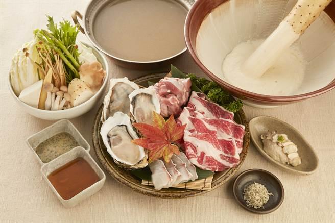 「大和芋牡蠣海陸鍋」,主打使用來自日本的頂級山藥「大和芋」,以及「瀨戶內產牡蠣」等高級食材。