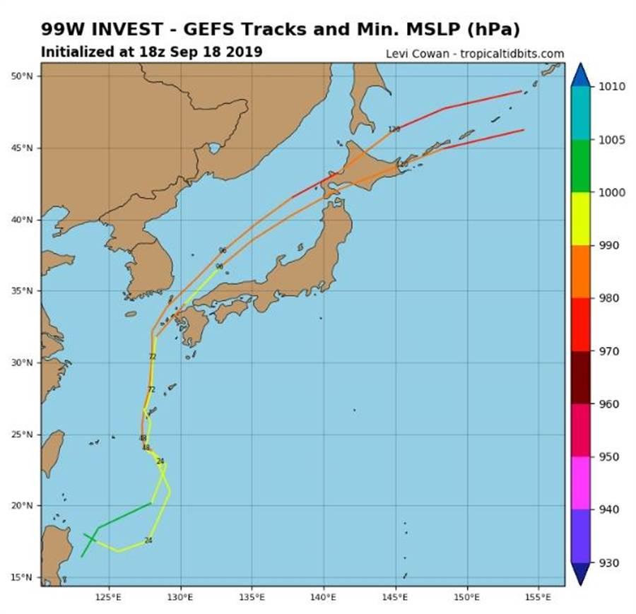 最新全球預報系統(GFS)對此熱帶低壓的模擬路徑圖出爐。(摘自tropicaltidbits)