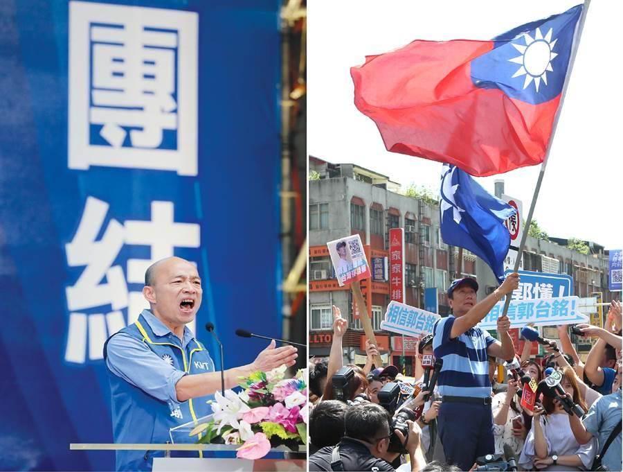 國民黨2020總統提名人、高雄市長韓國瑜(左)、鴻海集團創辦人郭台銘(右)。(圖/合成圖,本報資料照)