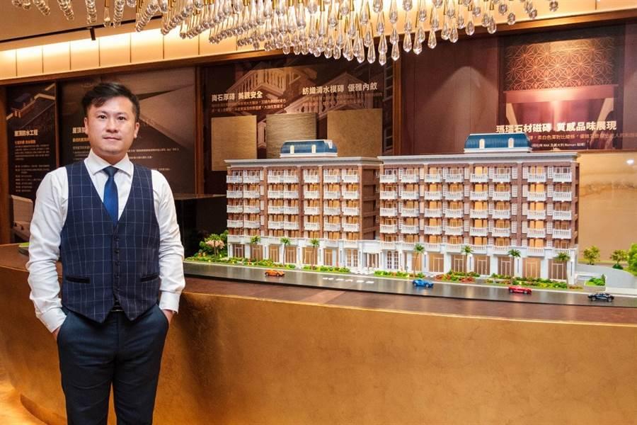 專案經理蕭學良表示,『蘭桂?坊』有80米的大氣面寬,加上歐式建築美學細膩雕琢,濃厚的英倫風深受商務人士喜愛。