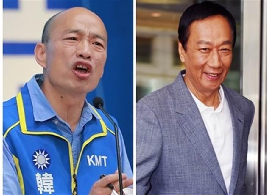 國民黨總統參選人韓國瑜(左)、鴻海創辦人郭台銘(右)。(圖/資料照片合成)