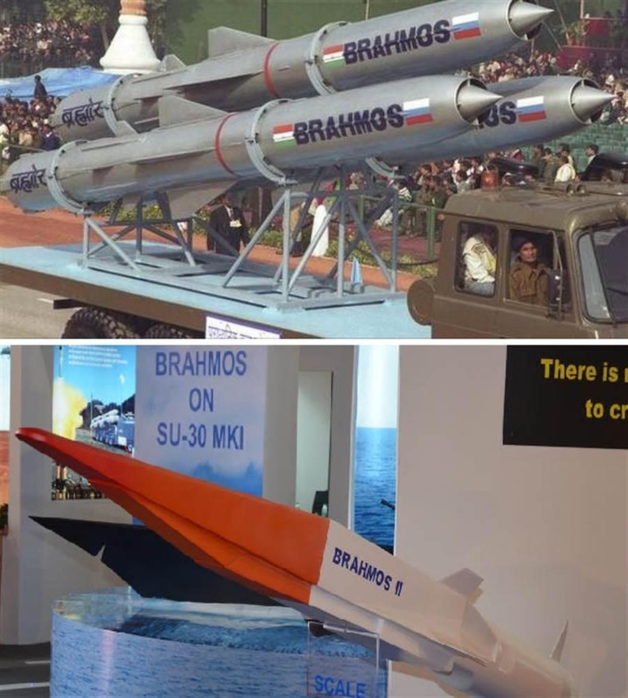 布拉莫斯飛彈與布拉莫斯2型飛彈,兩者外觀差距很大。布拉莫斯飛彈4馬赫,布拉莫斯2型達到8馬赫,布拉莫斯2型可視為鋯石飛彈的印度版本。(圖/印度海軍)