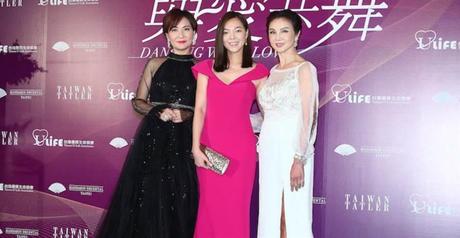 方芳芳(左起)、曾馨瑩、謝玲玲今晚出席募款晚會。粘耿豪攝