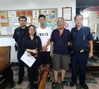 竹南分局大山派出所員警 協助彭姓失智老翁回家