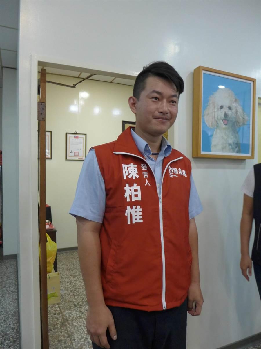 台灣基進黨發言人陳柏惟代表綠營出戰顏寬恒。(林欣儀攝)