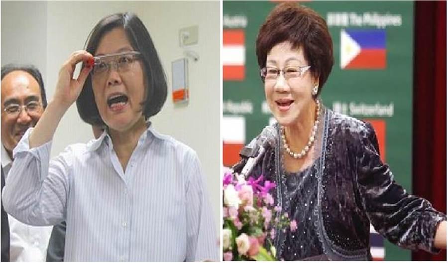 總統蔡英文(左)、前副總統呂秀蓮。(圖/合成圖,本報資料照)