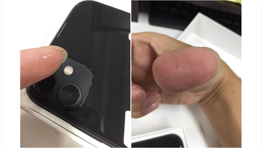 消費者抱怨開箱iPhone 11新機竟被刮傷。(圖/摘自PTT)