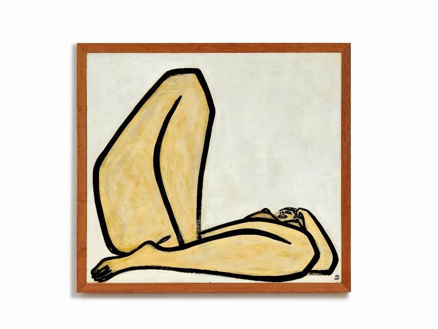 首度登上拍賣會的常玉鉅作《曲腿裸女》,備受藝壇注目。(Sotheby's提供)