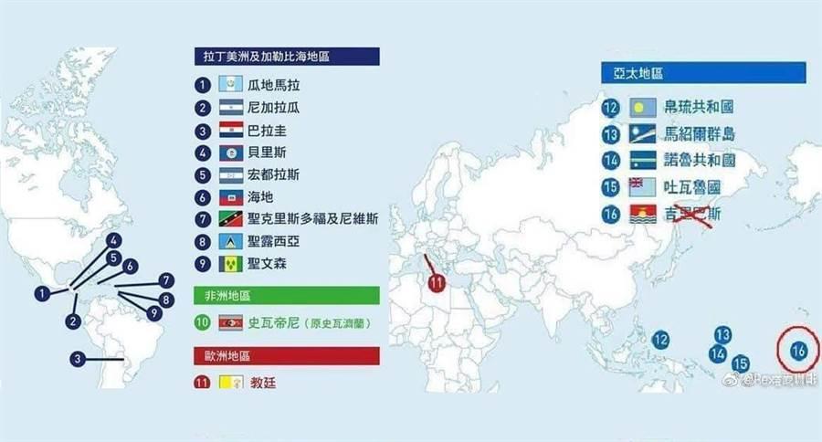 大陸網友在微博上刊出為與台灣有邦交關係的國家位置圖。(圖/新浪微博)