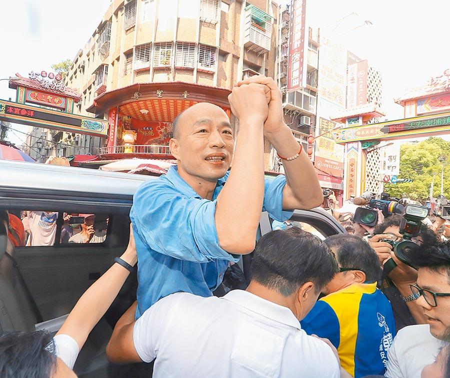 依據旺旺中時媒體集團最新民調,國民黨總統參選人韓國瑜支持度,落後蔡英文總統6.9個百分點。(本報資料照片)