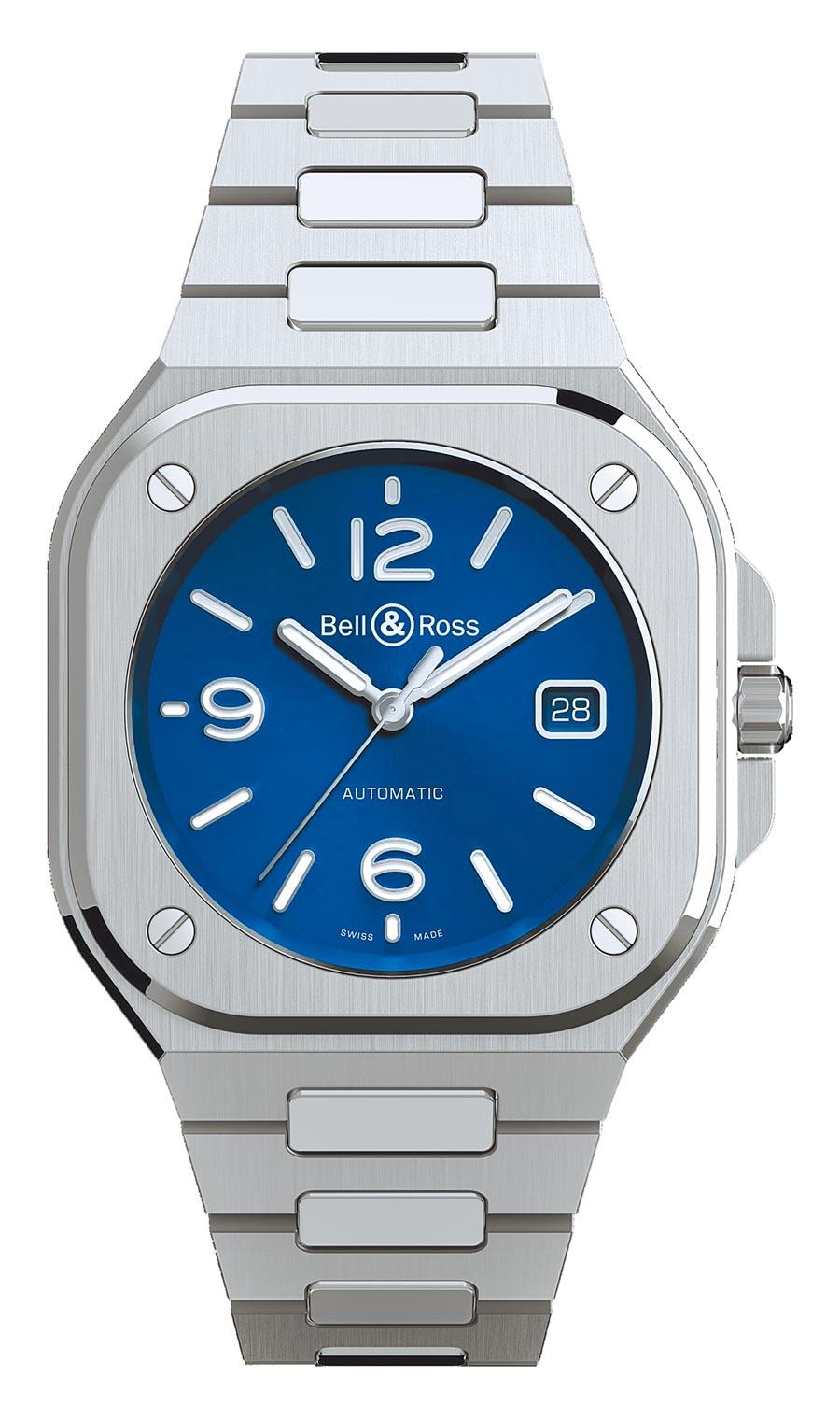 Bell & Ross年度力作BR05不鏽鋼海軍藍表盤腕表,16萬8000元。(Bell & Ross提供)