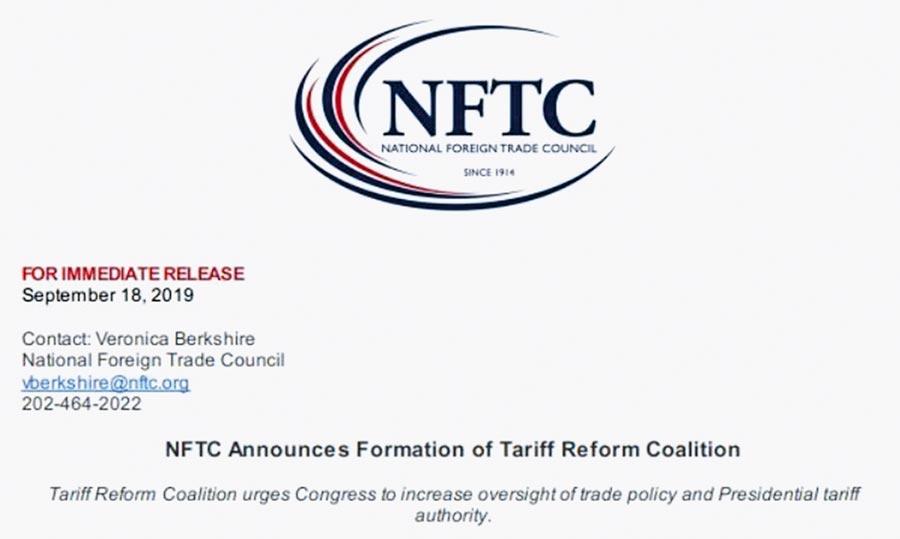 美商界組聯盟致函國會,要求限制川普加徵關稅權力。(取自NFTC推特)