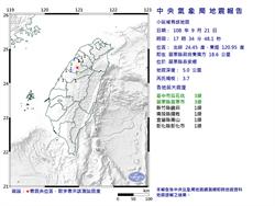 中部芮氏規模3.7地震 震央在苗栗泰安
