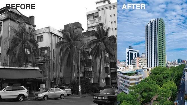 屋齡42年的4層樓破舊建物(左),經過都更的實施,如今已經成為29層高的現代化大樓住宅「京城逸文苑」(右)。(圖/京城建設提供)