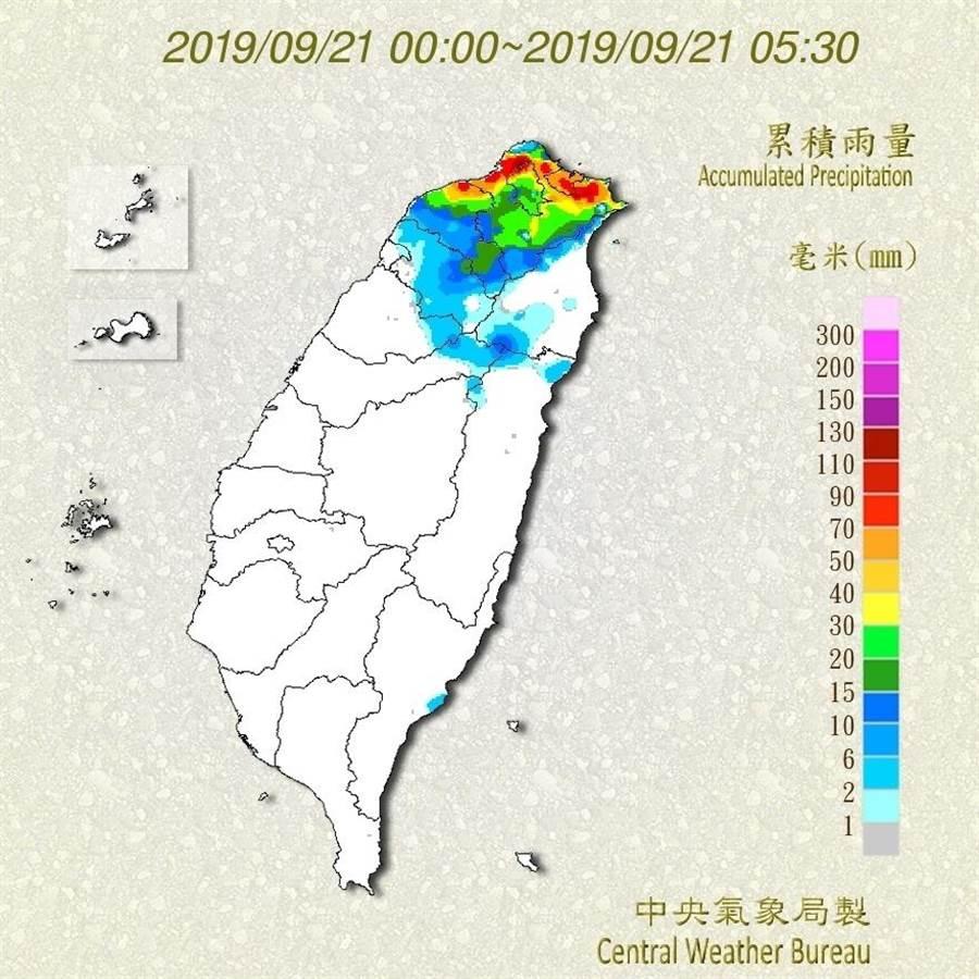 塔巴颱風今最接近台灣, 雨量以北部與東北部山區、基隆北海岸最明顯。(氣象局提供)