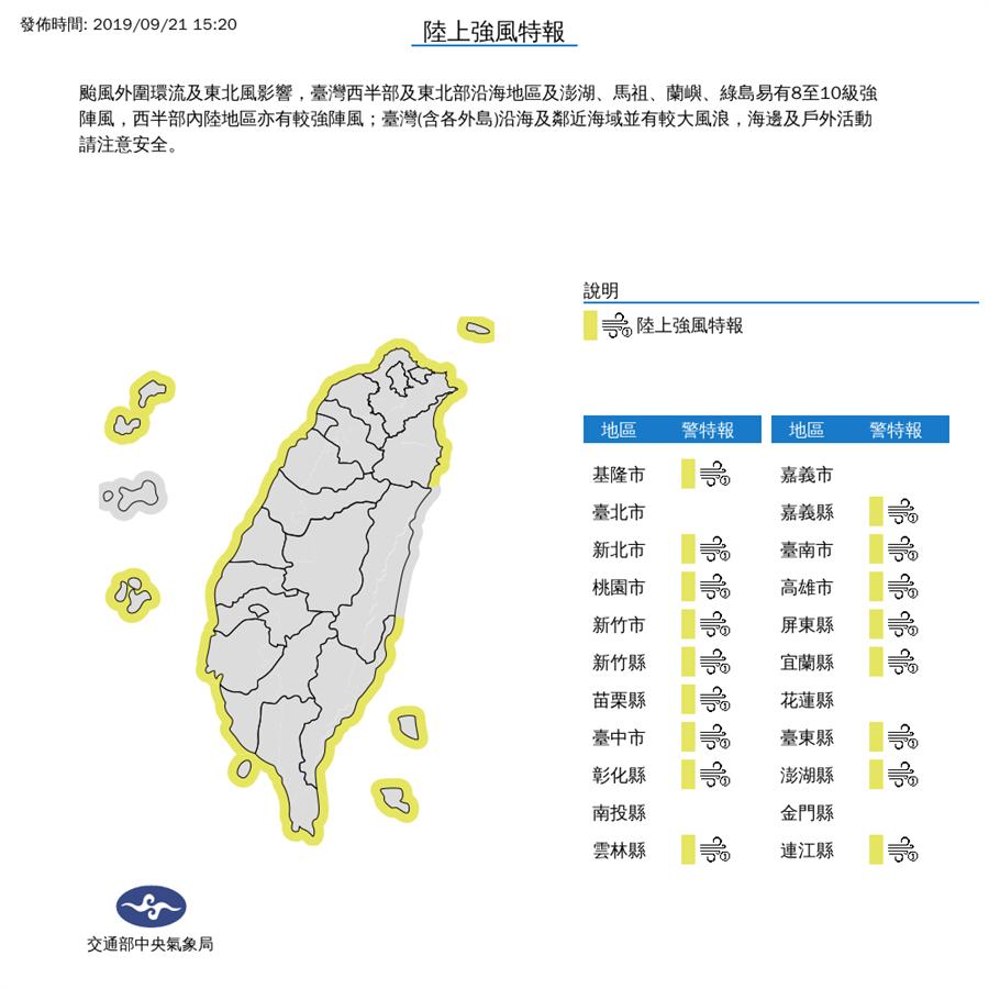颱風外圍環流加上吹東北風,全台17縣市也發布陸上強風特報。(圖擷自氣象局)