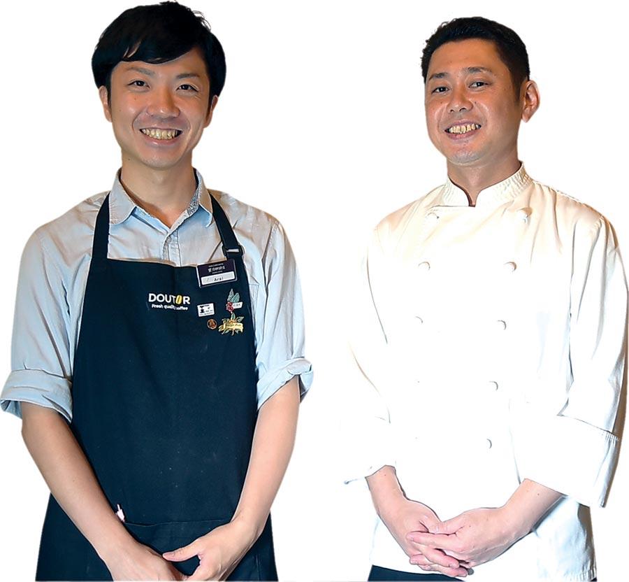 台灣〈星乃珈琲店〉的咖啡師新井智博(左),以及料理長國分博文(右)都來自日本。圖/姚舜