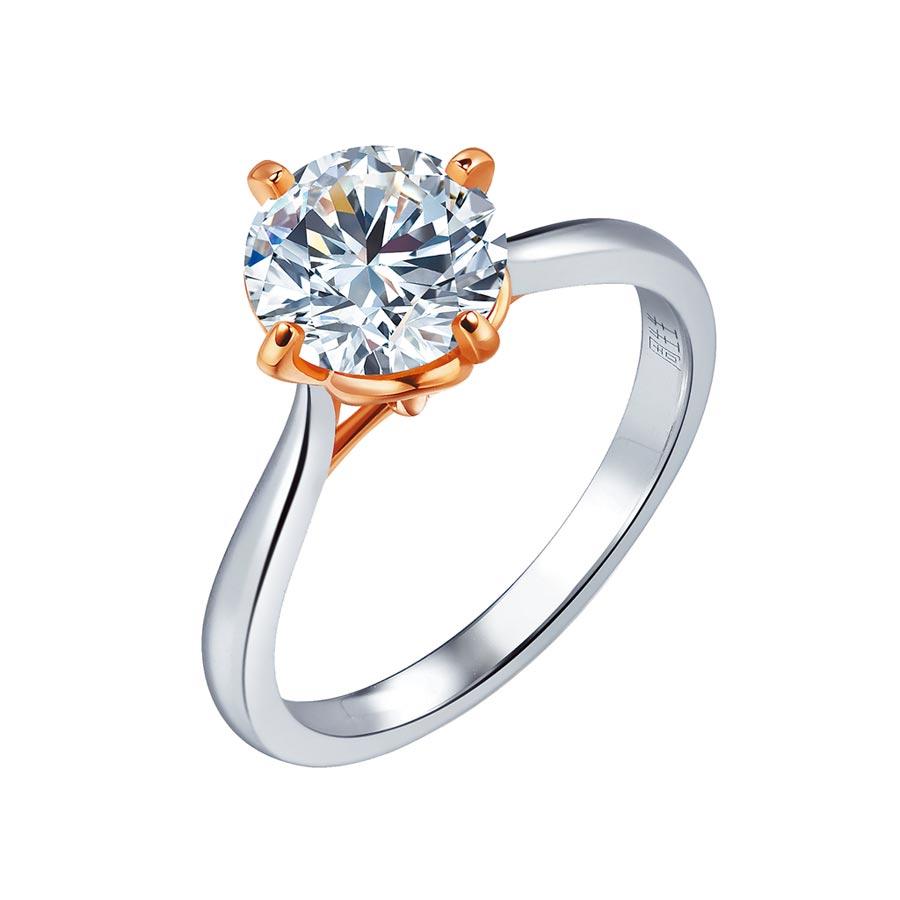 點睛品Promessa 18K白金玫瑰金雙色「同心結」鑽石戒指。(點睛品提供)