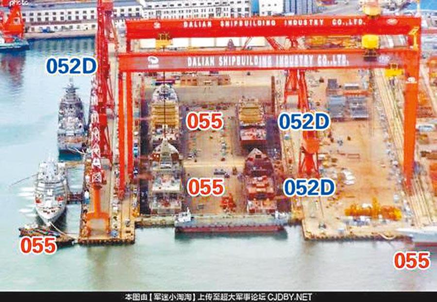 忙碌的大連造船廠,可見055型四艦同框的震撼畫面。(取自新浪軍事)