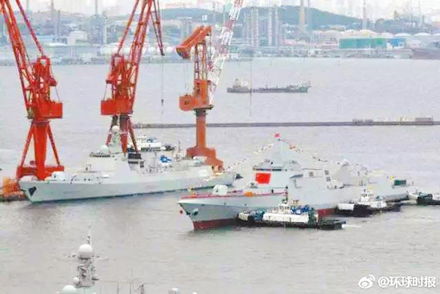 055型是大陸海軍新一代萬噸驅逐艦。(取自@環球時報)