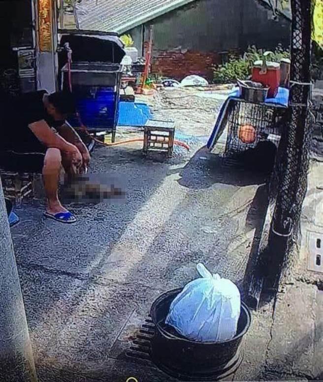 騎士目擊幼犬疑遭男子持器具肢解,旁邊籠子裡關的可能是狗媽媽。(摘自臉書社團《梧棲串起來》)