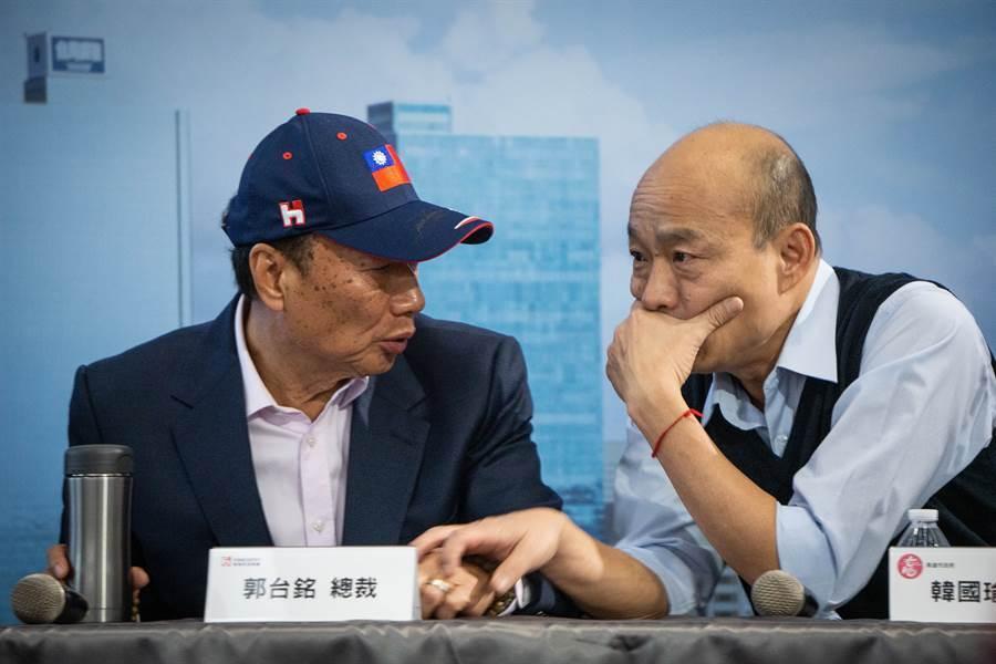 根據TVBS報導,郭台銘(左)拒見韓國瑜(右)原因在於,不滿韓4月指控「權貴密室協商」,要求沒還清白就沒有碰面 (圖/本報資料照)