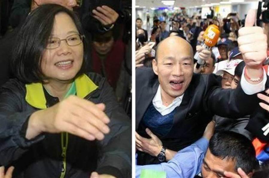 總統蔡英文(左)、國民黨總統參選人韓國瑜(右)。(合成圖/中時資料照)
