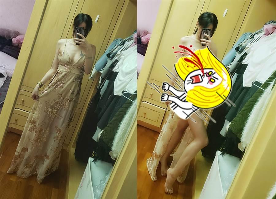 正妹網購飄逸洋裝 秒變情趣戰袍(圖/摘自臉書《爆廢公社公開版》)