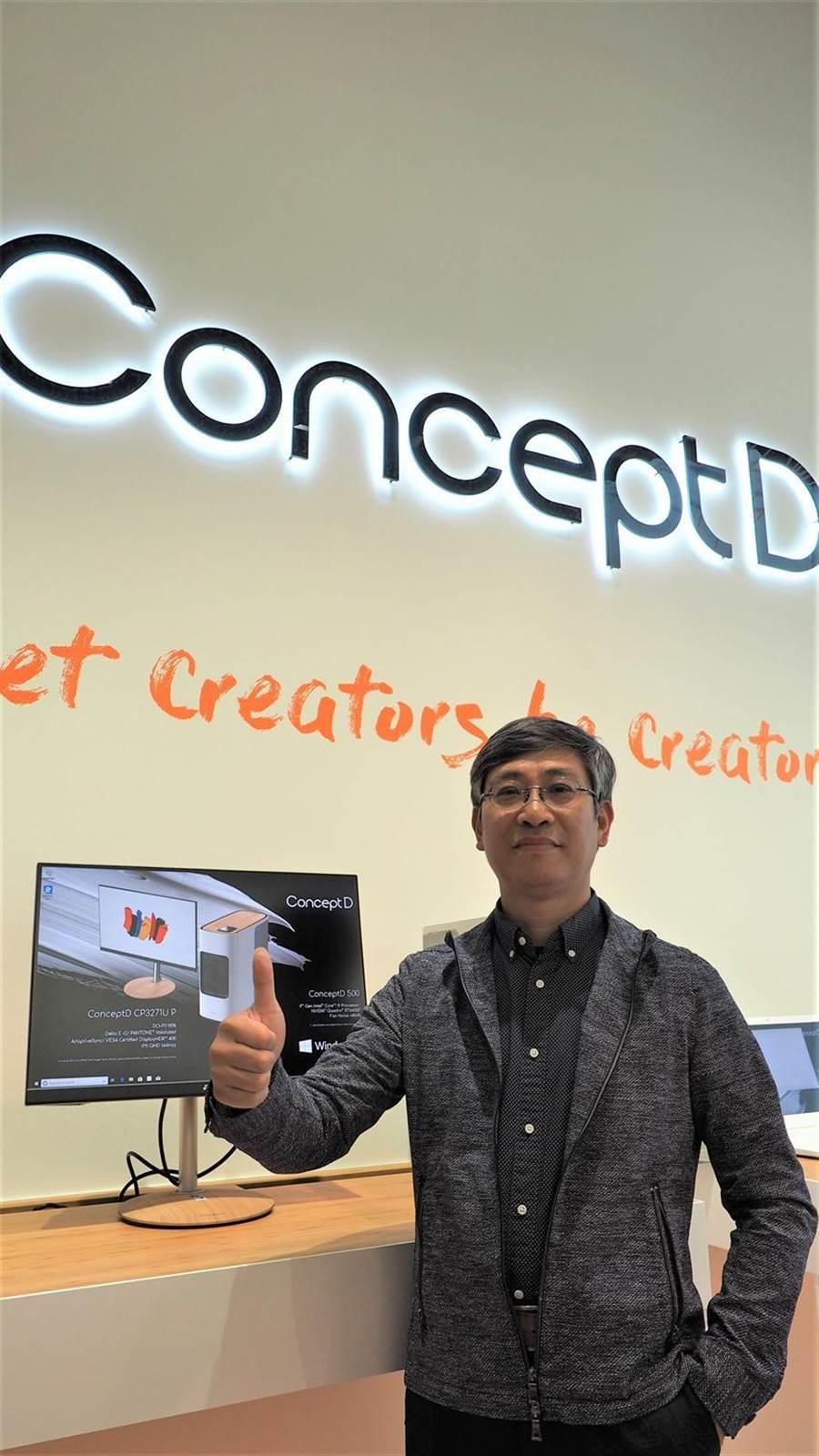 宏碁數位顯示事業群總經理簡慧祥預期,未來2~3年內採用IGZO及OLED的顯示器,都將成為下一個世代的重要產品,明年宏碁也將提升IGZO螢幕產品占比達3~5%以上。圖/翁毓嵐