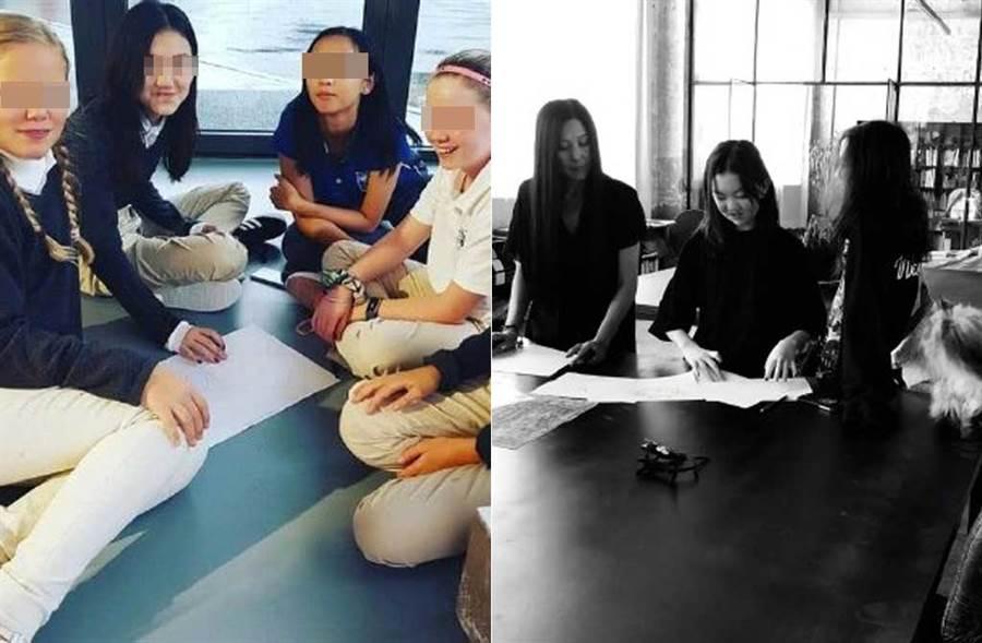 王菲愛女李嫣的照片被當成宣傳照,刊在瑞士貴族學校網頁上。(取材自新浪娛樂微博)