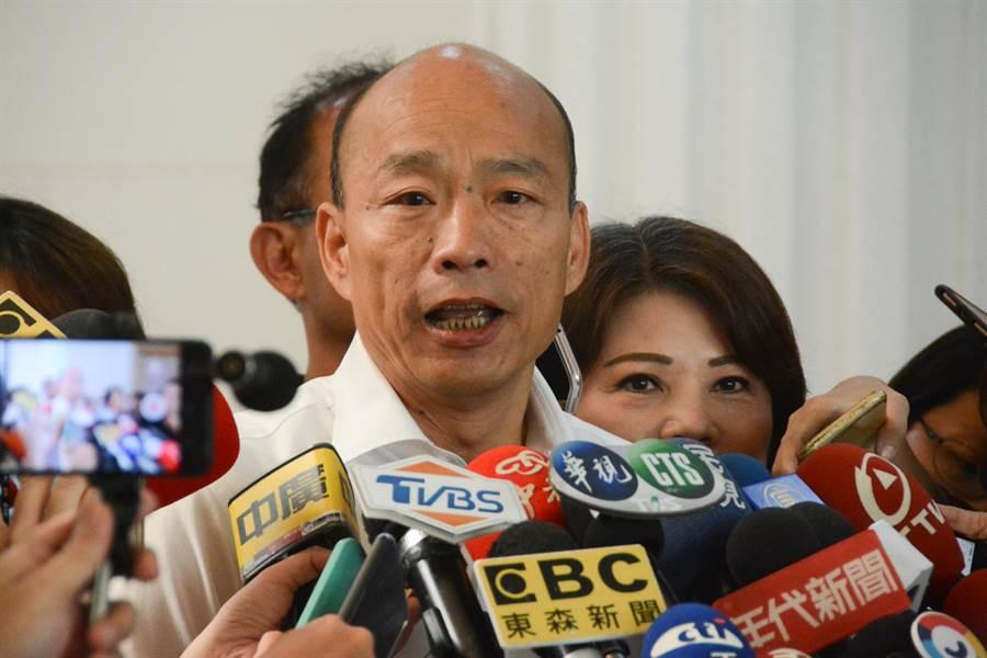 高雄市長韓國瑜表示,對於預算意見交換會變成質詢,確實有些錯愕。(林宏聰攝)
