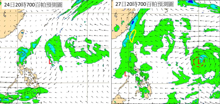 最新歐洲模式(ECMWF)模擬,今(24)日台灣附近低層水氣不多、偏乾(左圖)。週五(27日)700百帕模擬圖(右圖)顯示,台灣附近水氣已明顯增多,同時菲律賓與關島之間海域另有一熱帶擾動。(翻攝自  三立準氣象·老大洩天機)