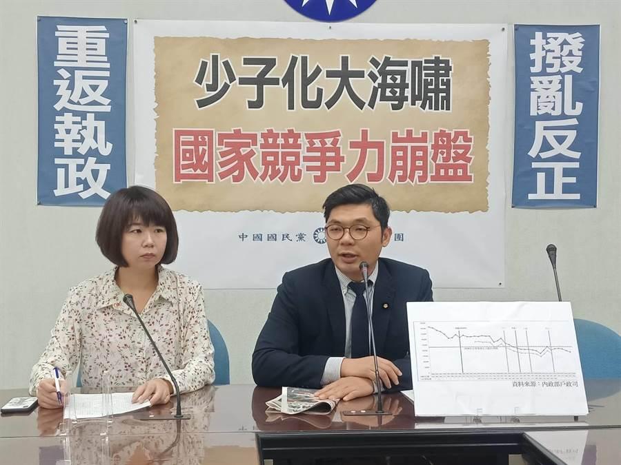 國民黨立委許毓仁、林麗蟬今天上午舉行「少子化大海嘯,國家競爭力崩盤」記者會。(國民黨團提供)