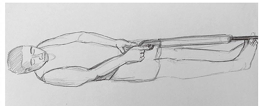 中法戰爭時,洋人口中的「仰式開槍法」。(中華河洛暨開漳聖王文化研究會提供)