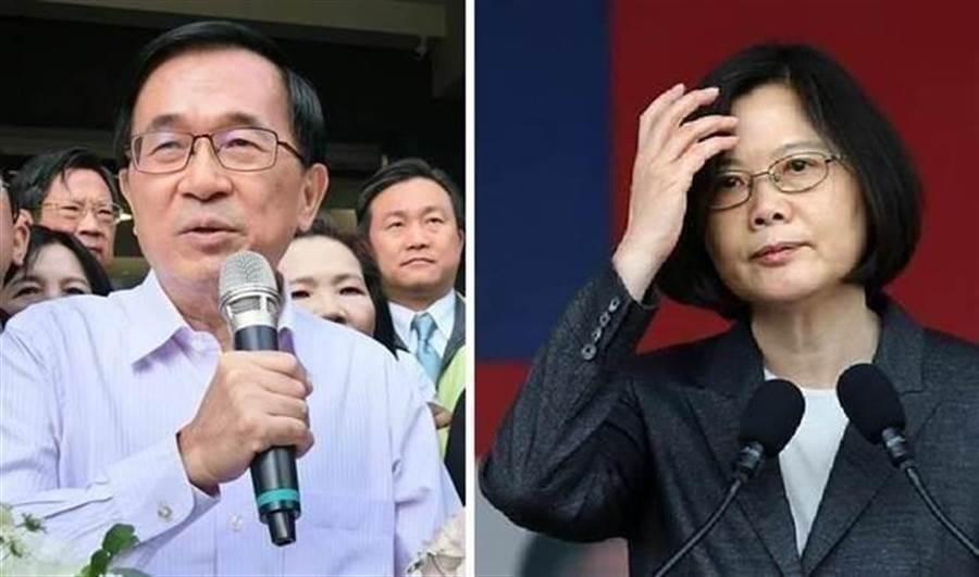 左為前總統陳水扁、右為總統蔡英文。(本報資料照片)