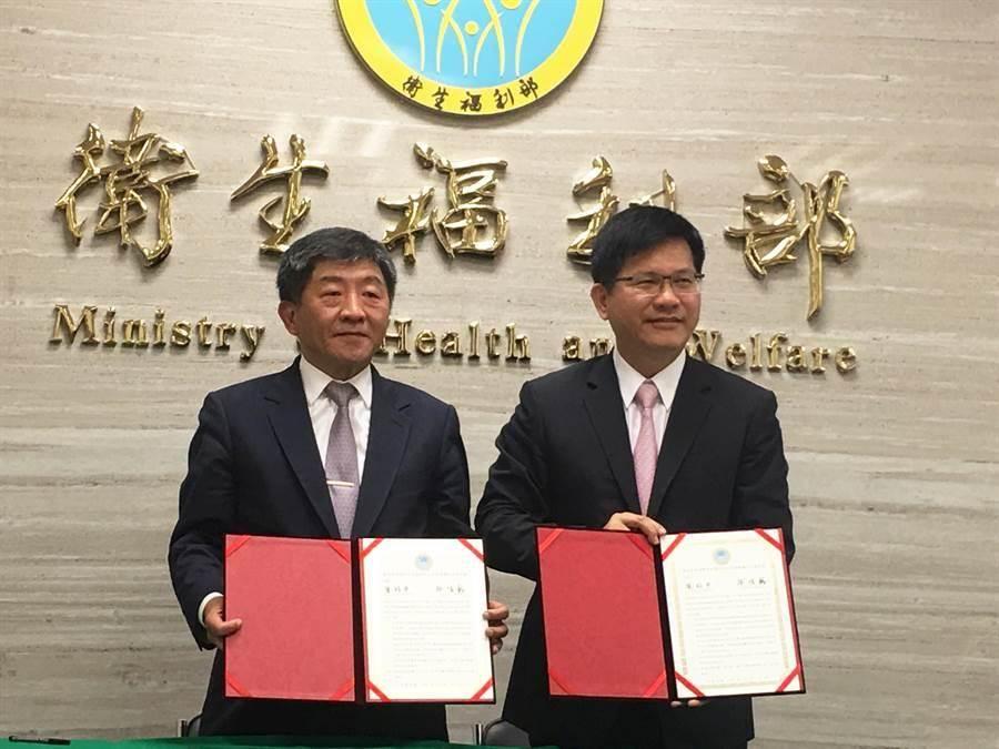 今年5月,衛福部部長陳時中與交通部部長林佳龍簽署「南港郵局節餘空間設置綜合式長照機構」合作意向書。(林周義攝)