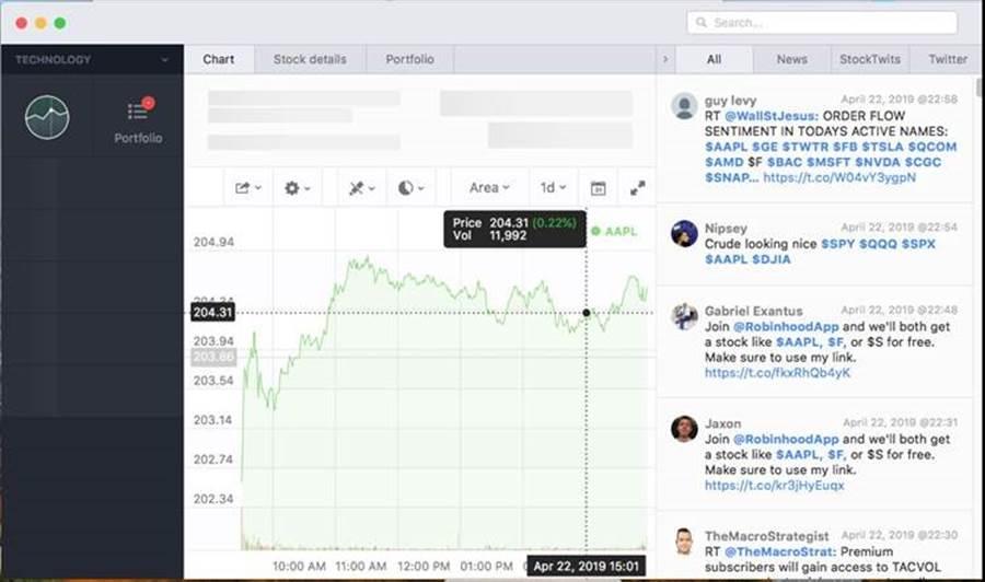 趨勢科技發現兩隻偽裝成 Mac合法交易軟體 Stockfolio 的木當,使用者執行假交易軟體時,螢幕上會出現真實的股票交易介面,但惡意軟體已經在背景執行惡意行為。(趨勢科技提供/黃慧雯台北傳真)