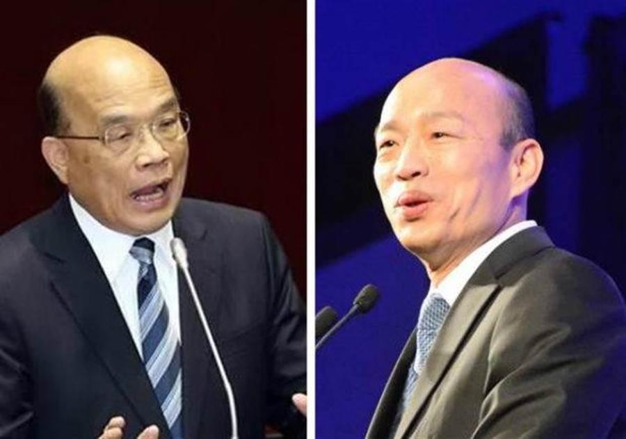 圖為行政院長蘇貞昌(左)、高雄市長韓國瑜(右)。(合成圖/中時資料照)