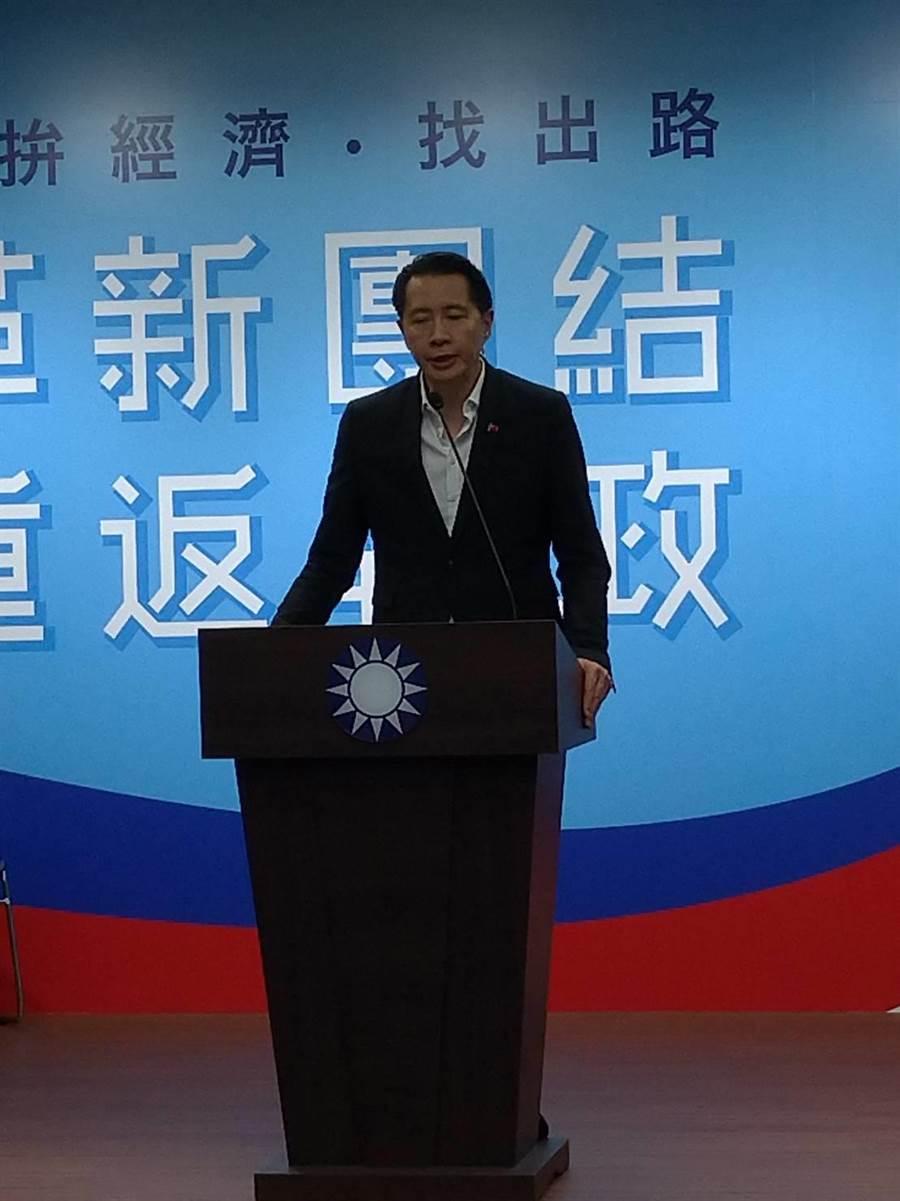 國民黨發言人歐陽龍宣布國民黨慰留郭台銘退黨。(黃福其/攝)