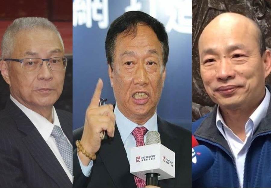 國民黨黨主席吳敦義(左)、鴻海董事長郭台銘(中)、高雄市長韓國瑜(右)。(圖左、圖右/張穎齊攝;圖中/本報資料照)