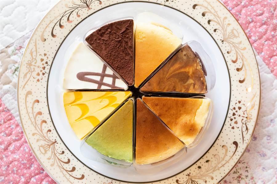為了滿足消費者,傑克乳酪蛋糕也推出兩種綜合的組合,一次吃到八種口味。(袁庭堯攝)