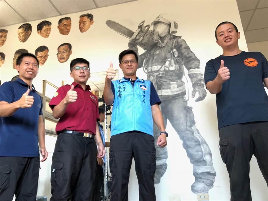 金門縣消防局大隊長陳參奇鼓勵同仁發揮才學,留下不一樣的工作回憶。(李金生攝)