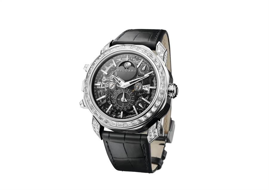 寶格麗年度鉅作OCTO GRANDE SONNERIE大自鳴萬年曆陀飛輪腕表,具月相、三問等複雜功能,2980萬元,全球限量8只。(BVLGARI提供)