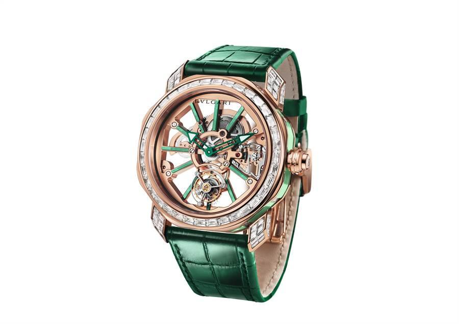 寶格麗OCTO ROMA TOURBILLON SAPHIRE玫瑰金鑲鑽水晶陀飛輪腕表,785萬元,全球限量30只。(BVLGARI提供)