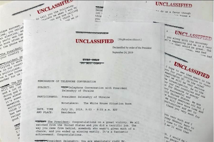 美國總統川普和烏克蘭總統澤倫斯基的通話紀錄25日公開。(美聯社)